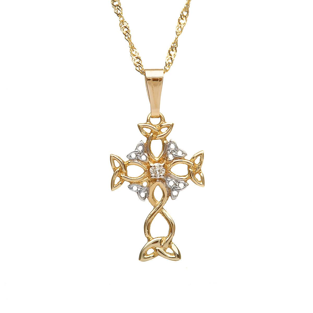 10ct Trinity & Diamond Cross