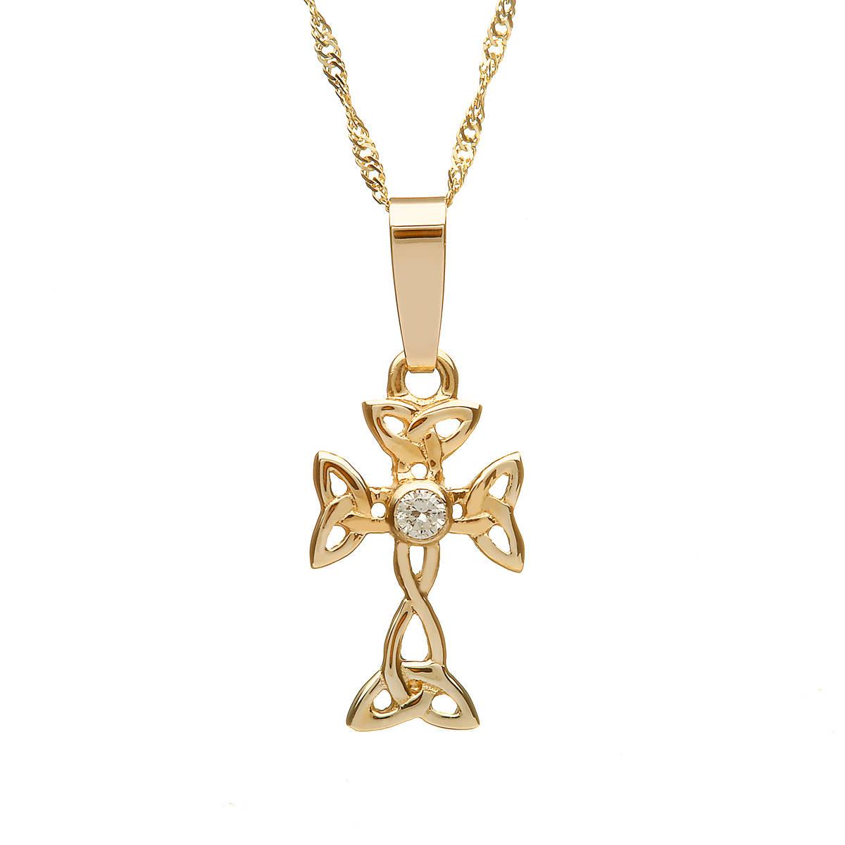 10 carat Yellow Gold Diamond Set Celtic Cross 15mmx9mm