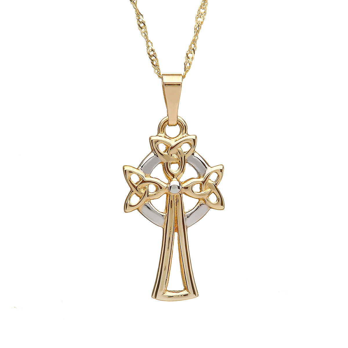 "10 carat Yellow Gold Trinity Knot Celtic Cross On 18"" Twist Chain"