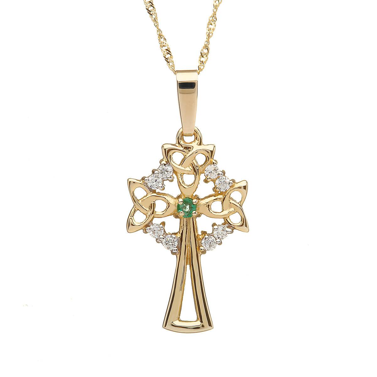 "10 carat Yellow Gold Celtic Cross Emerald & Cz On 18"""" Chain Boxes 22mx14m"""