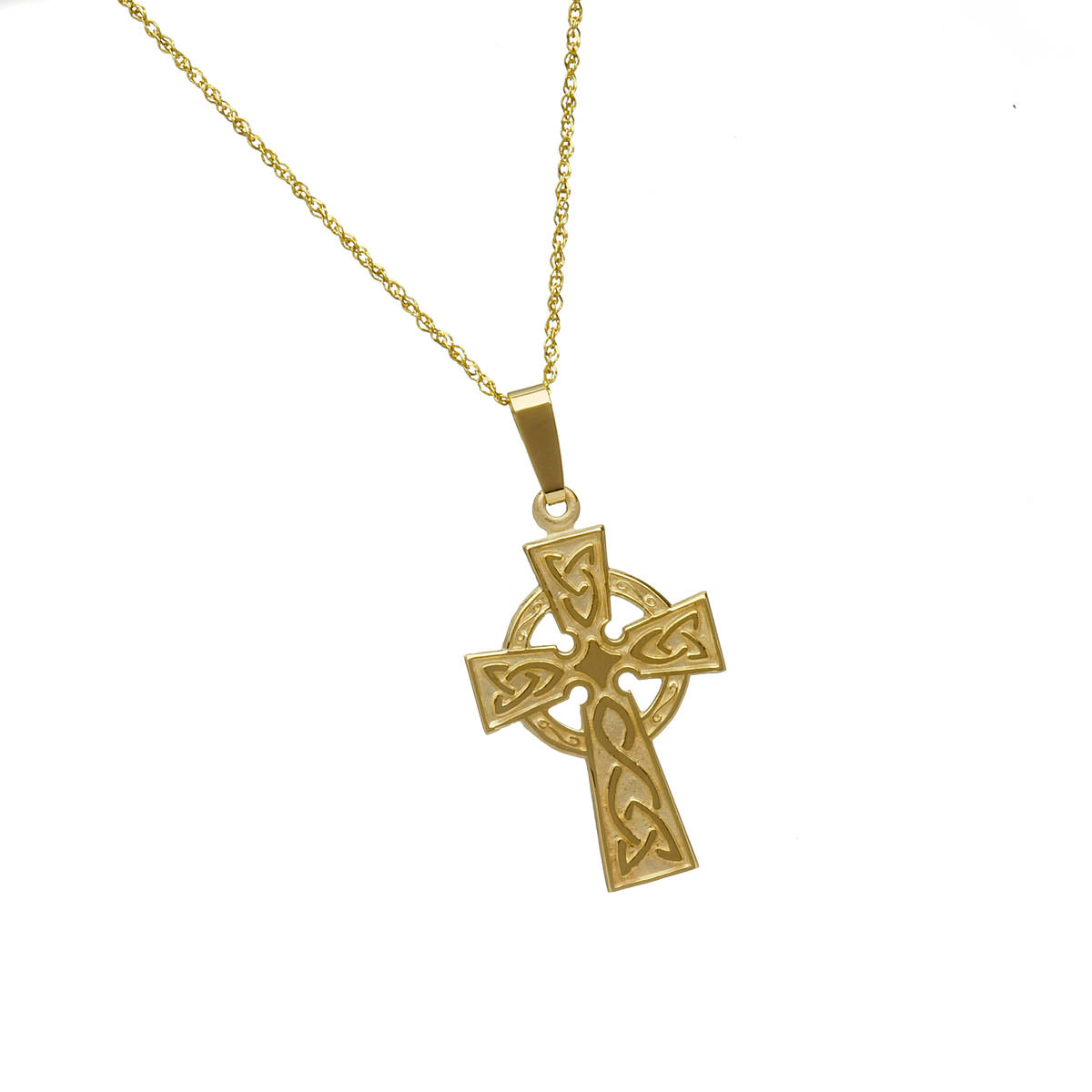 """10 carat yellow gold celtic cross pendant with engraved back on 18\""""chain.This is a good example of the classic Celtic Cross and if you prefer it in white or rose gold instead of yellow gold ,then just leave us a note in the comment box on checkout."""