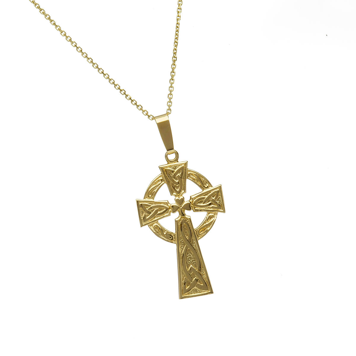 \n10 carat yellow gold Shamrock Celtic Cross pendant with engraved back.\nA classic Cross also available in white gold or rose gold, if you prefer.\nJust leave a note in the comment box on checkout.