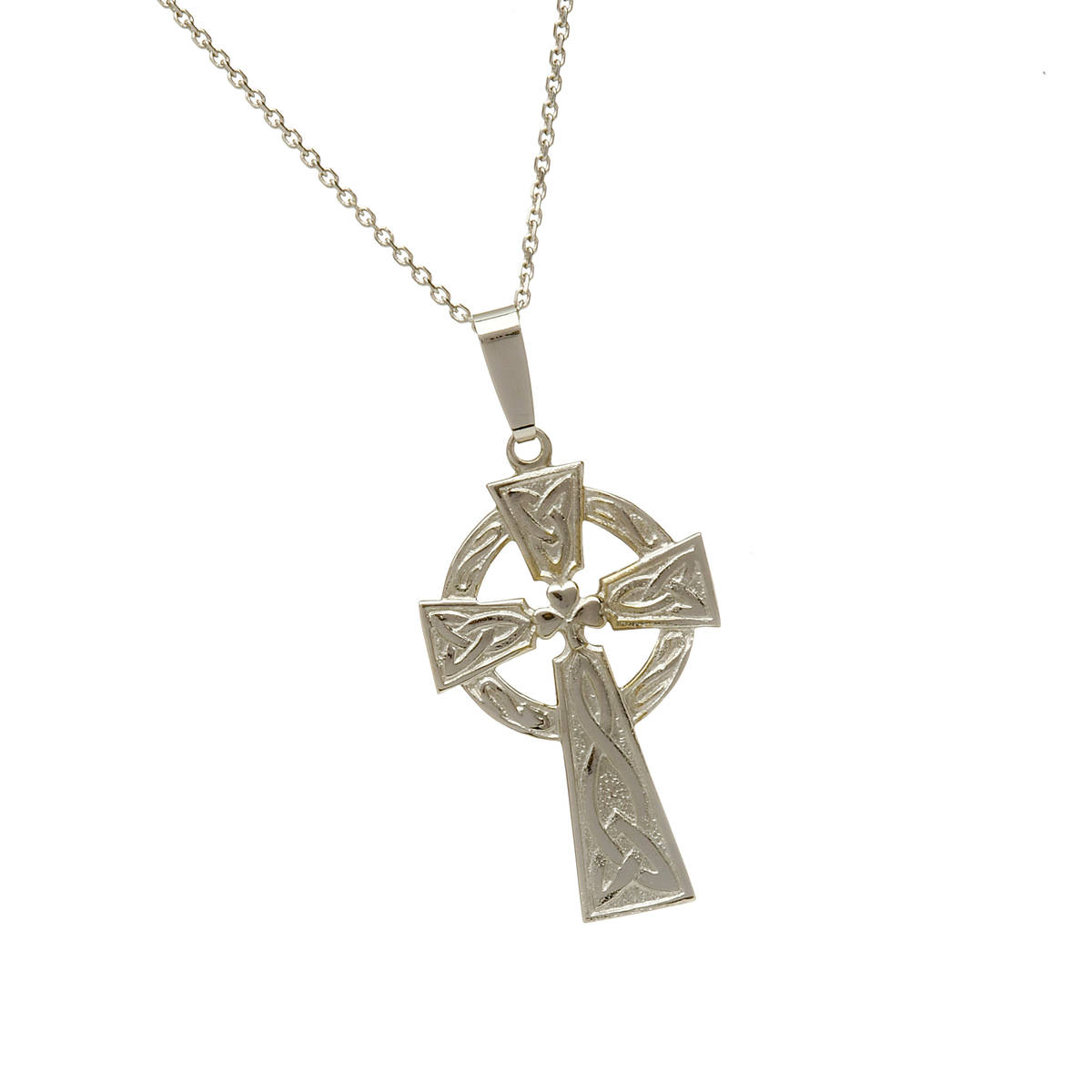 ""\n10 carat white gold Shamrock Celtic Cross pendant with engraved back. This is a very traditional Celtic Cross and is always a firm favourite with customers.It is available on a standard 18""""chain but if a 20"""" chain is required,just ask for it in our comment box on check out.nAlso available in yellow or rose gold.Again ,just let us know your preference.""1200|1200|?|en|2|512da6cca66d0efe8f65ab733f5589cf|False|UNLIKELY|0.31665971875190735