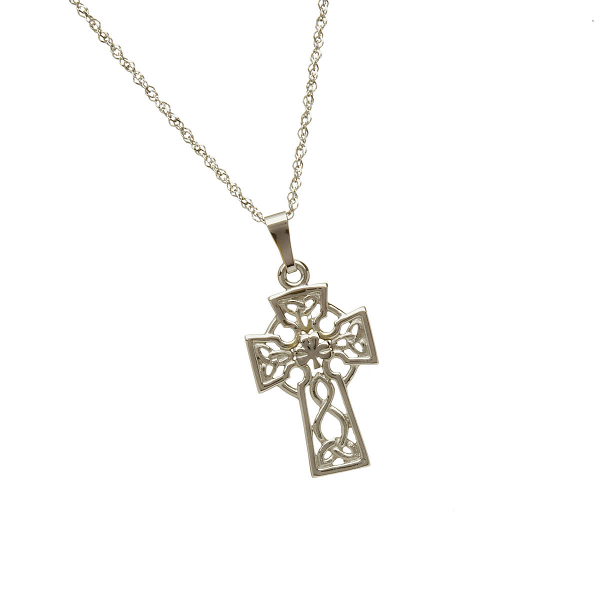 \nThis is a 10 carat white gold filigree Celtic cross pendant with shamrock\non a Prince Of Wales solid rope chain.\nIf you desire this in yellow or rose gold please state your preference in our comment box on checkout.