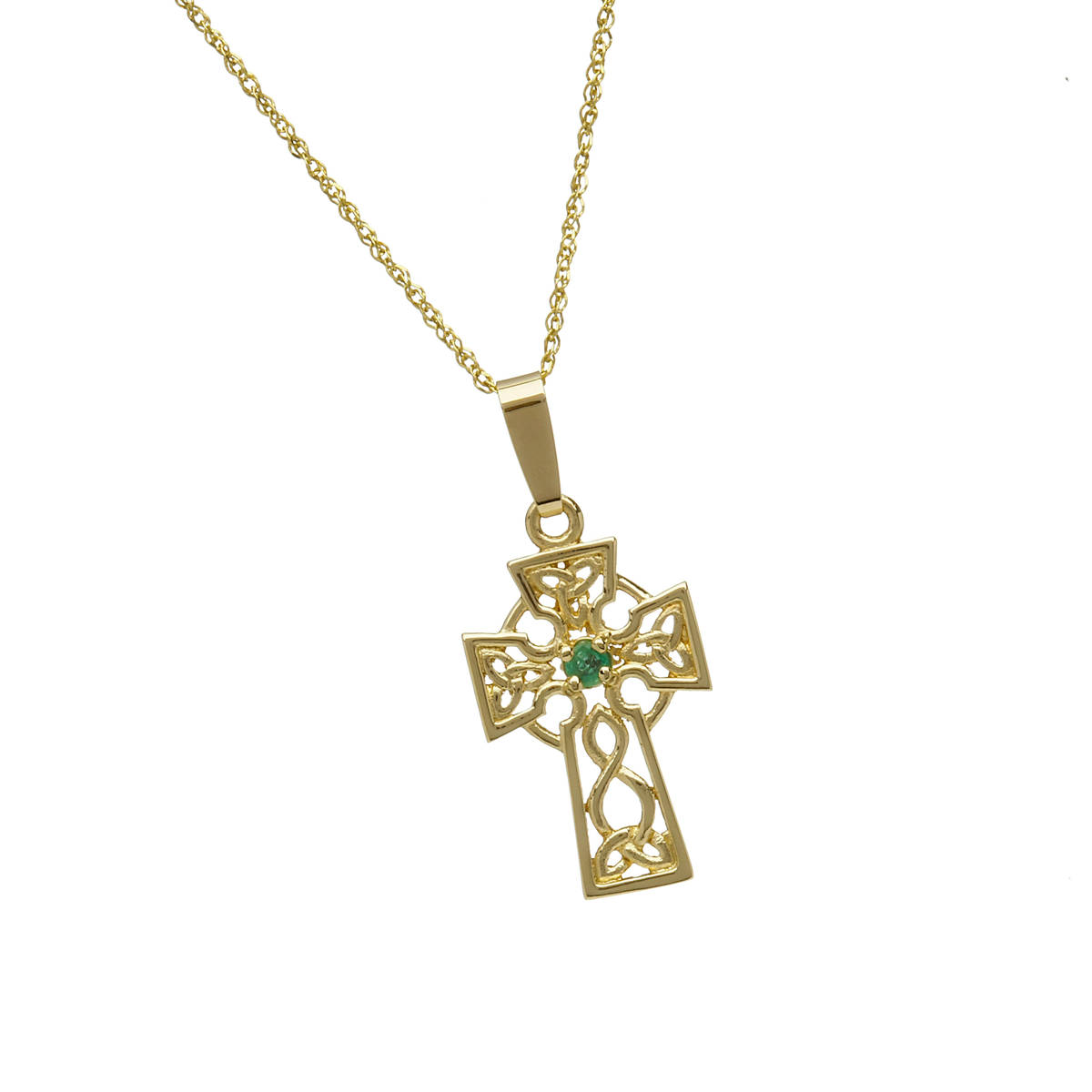 10 carat yellow gold filigree celtic cross pendant with emerald.Don't forget if you want this lovely piece in white or rose gold instead of yellow gold,just indicate your preferred gold in the comment box at checkout.