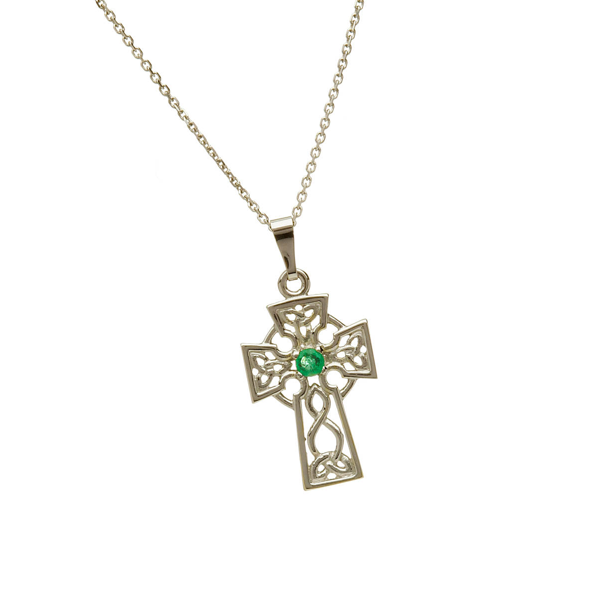 \n10 carat white gold filigree Celtic cross pendant with emerald.This has a beautiful emerald mounted in the heart of the cross.\nIf you prefer this pendant in yellow gold or in rose gold,please let us know of your preference in our comment box when you go to checkout.