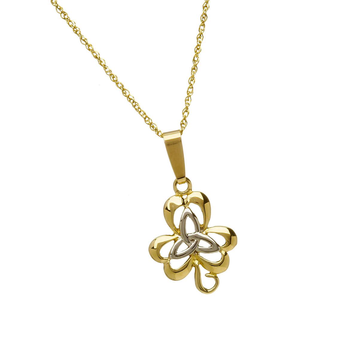 10 carat yellow gold/white gold trinity knot inside open shamrock combination pendant.