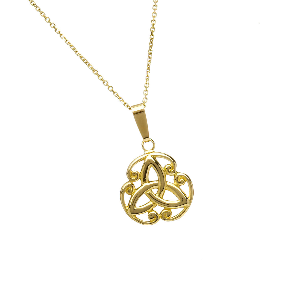 10 carat yellow gold filigree pendant trinity knot in scrolls which can be ordered in white gold or red or rose goldAll you have to do is leave your instructions in the comment box at checkout.
