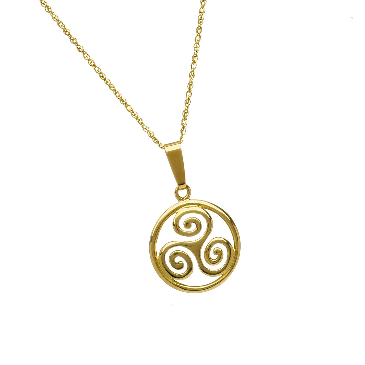 \n10 carat yellow gold circular celtic spiral pendant on 18 inch chain.\nThis triskele design is most attractive and should you desire this piece in white or rose gold please indicate your preference in the comment box on checking out.