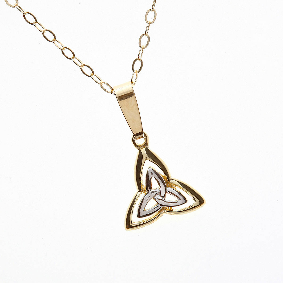 10 carat gold and rhodium plated double trinity knot pendant