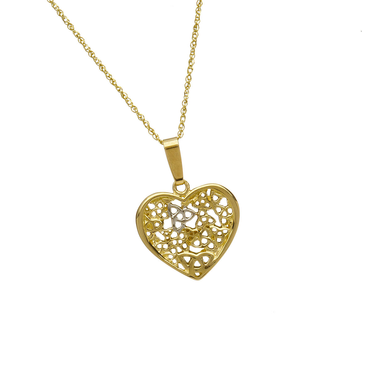 """10 carat open heart pendant with trinity knot cascade on 18\"""" chain"""