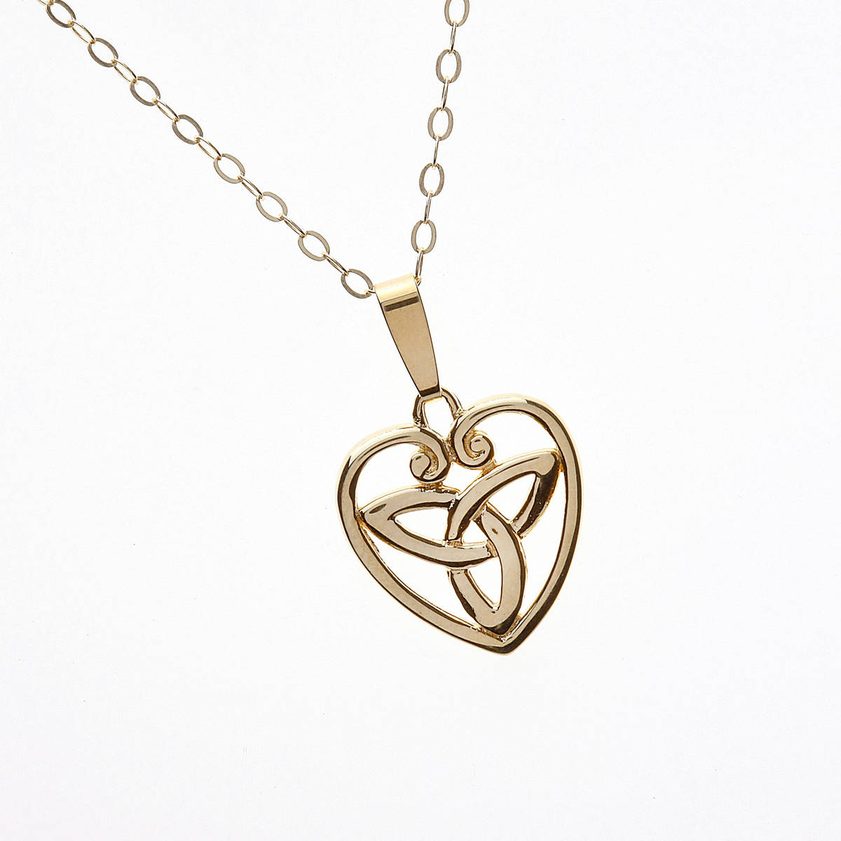 10ct Y/gold Trinity Knot Inside Scolloped Open Heart Pendant 18 Chain  a classic example of the beautiful celtic friendship knot encased in a scalloped outer rim.
