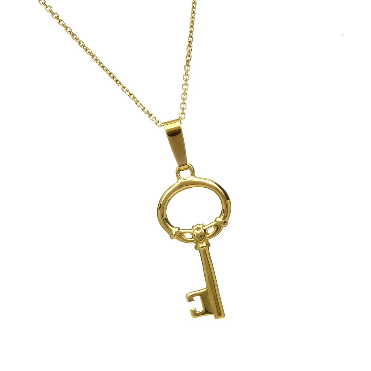 10 carat gold Claddagh key pendant.