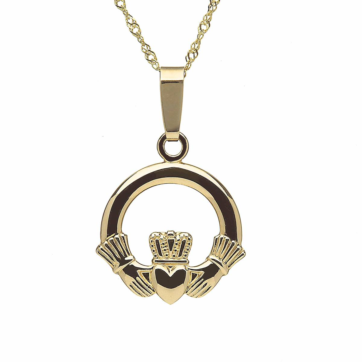 10 carat yellow gold classic Claddagh pendant