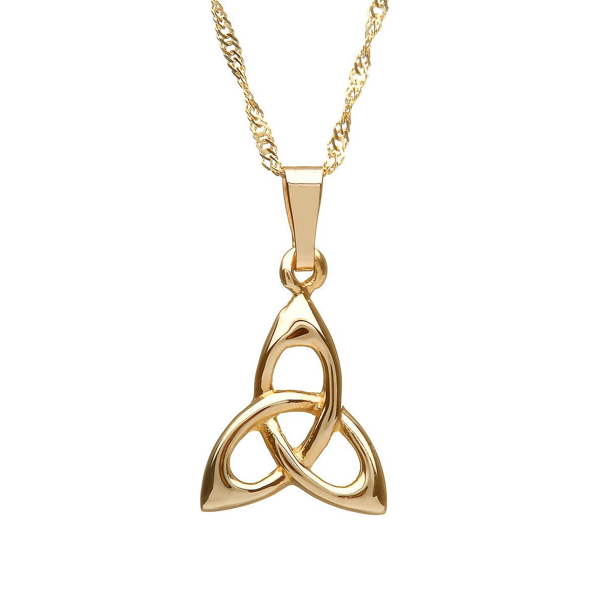"10 carat Yellow Gold Trinity Knot Pendant On 18"" Chain"