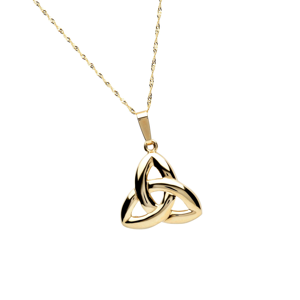 "10 carat Yellow G ""old Classic Puffed Trinity Knot Pendant On 18"" Twist Chain 17mx19m"
