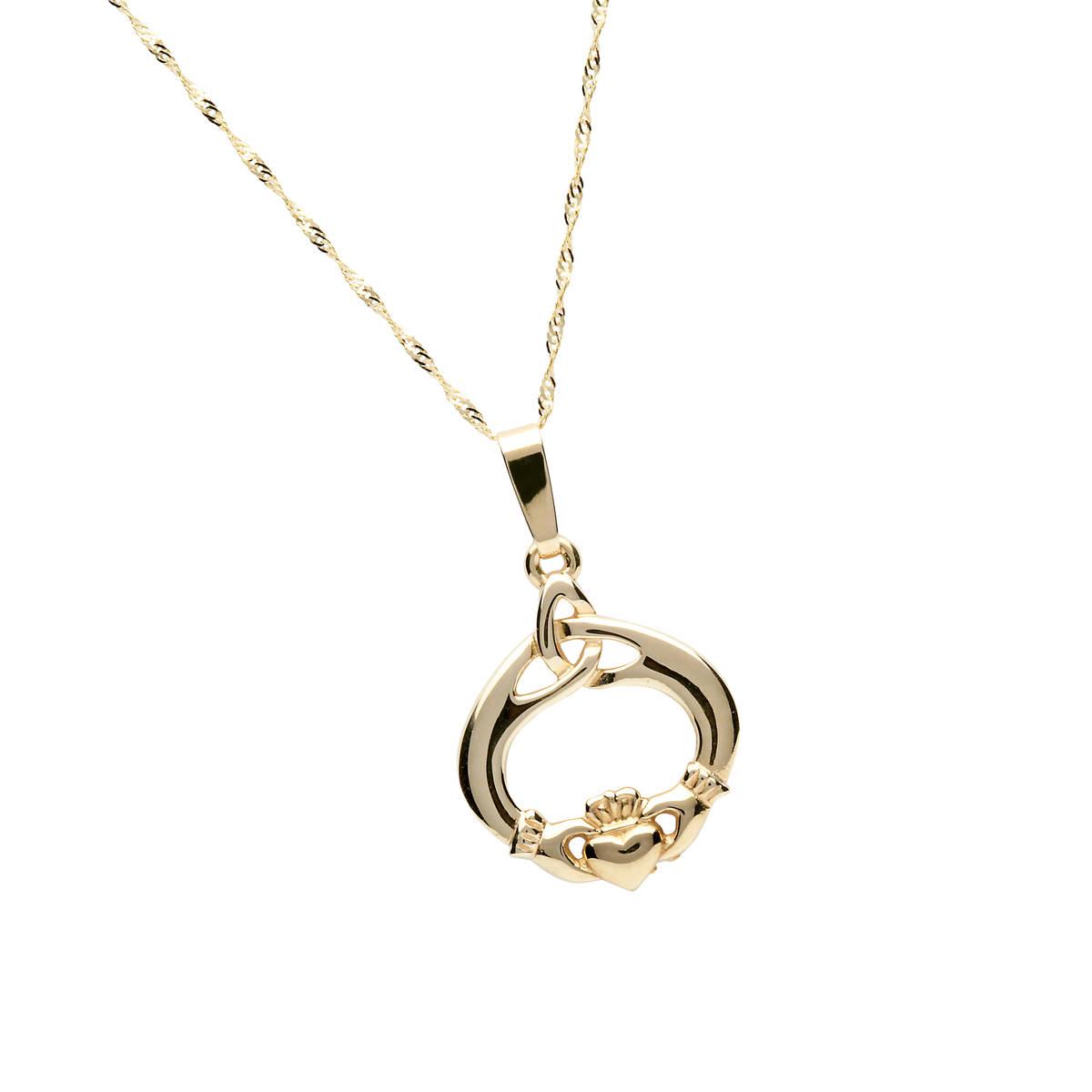10 carat Claddagh and knot pendant