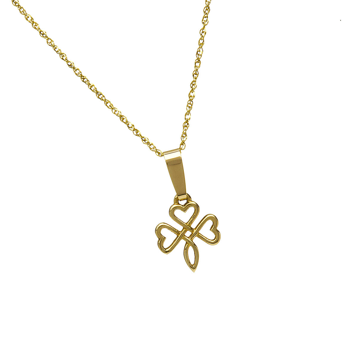 10 carat gold open shamrock knotwork pendant