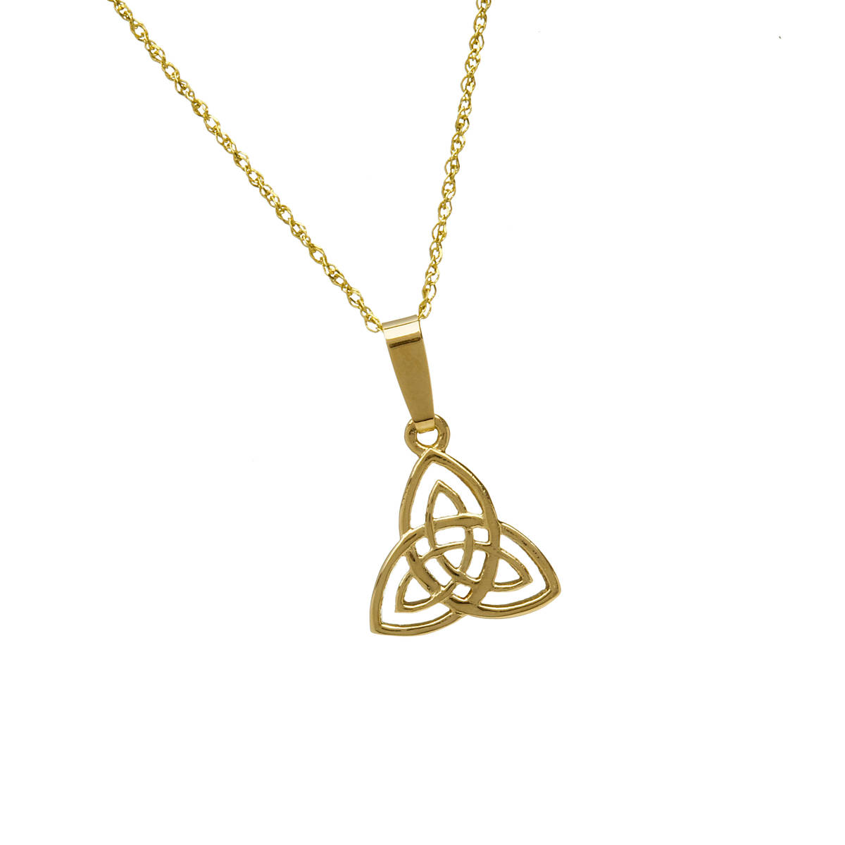 "10ct Trinity Knot Pendant 18"" Chain  Based on the trinity knot which originates from ancient manuscripts and signifies the undying nature of love and friendship."