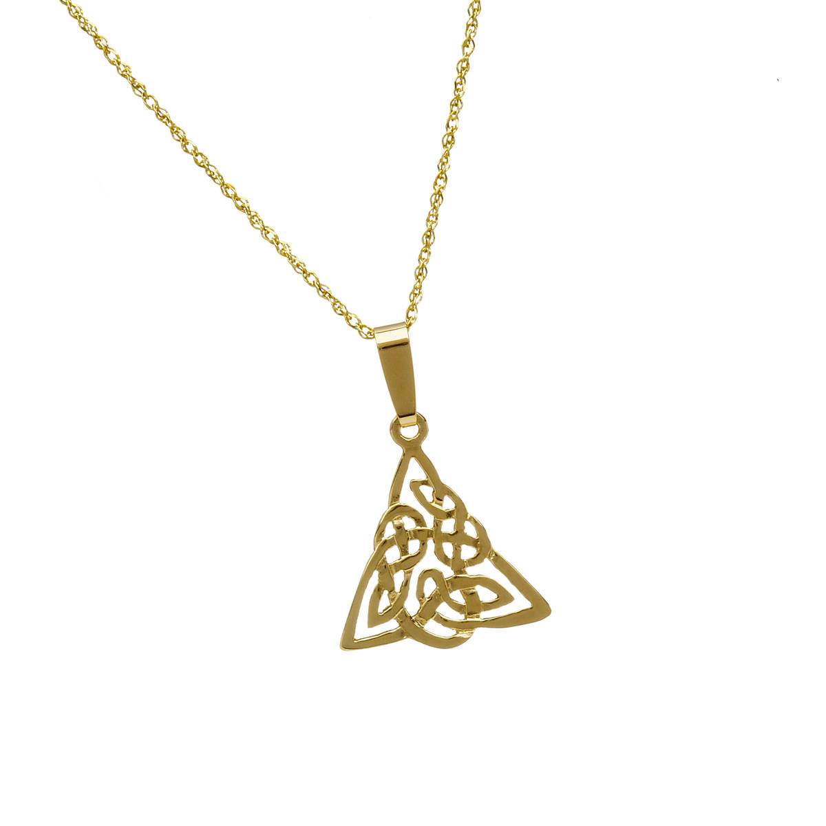 \n10 carat yellow gold Celtic Knot triangular pendant.\nBeautifully filigreed piece of jewellery and also available in white or rose gold as you desire. Just leave a note of your preference in our comment box on checkout.
