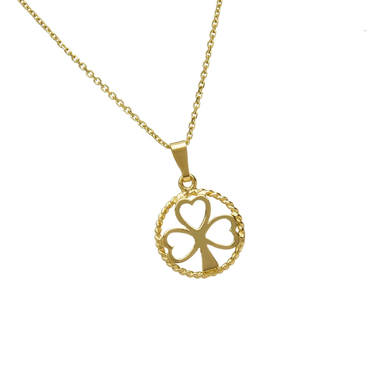 "10 carat yellow gold open shamrock in circleon 18\"" chain pendant."