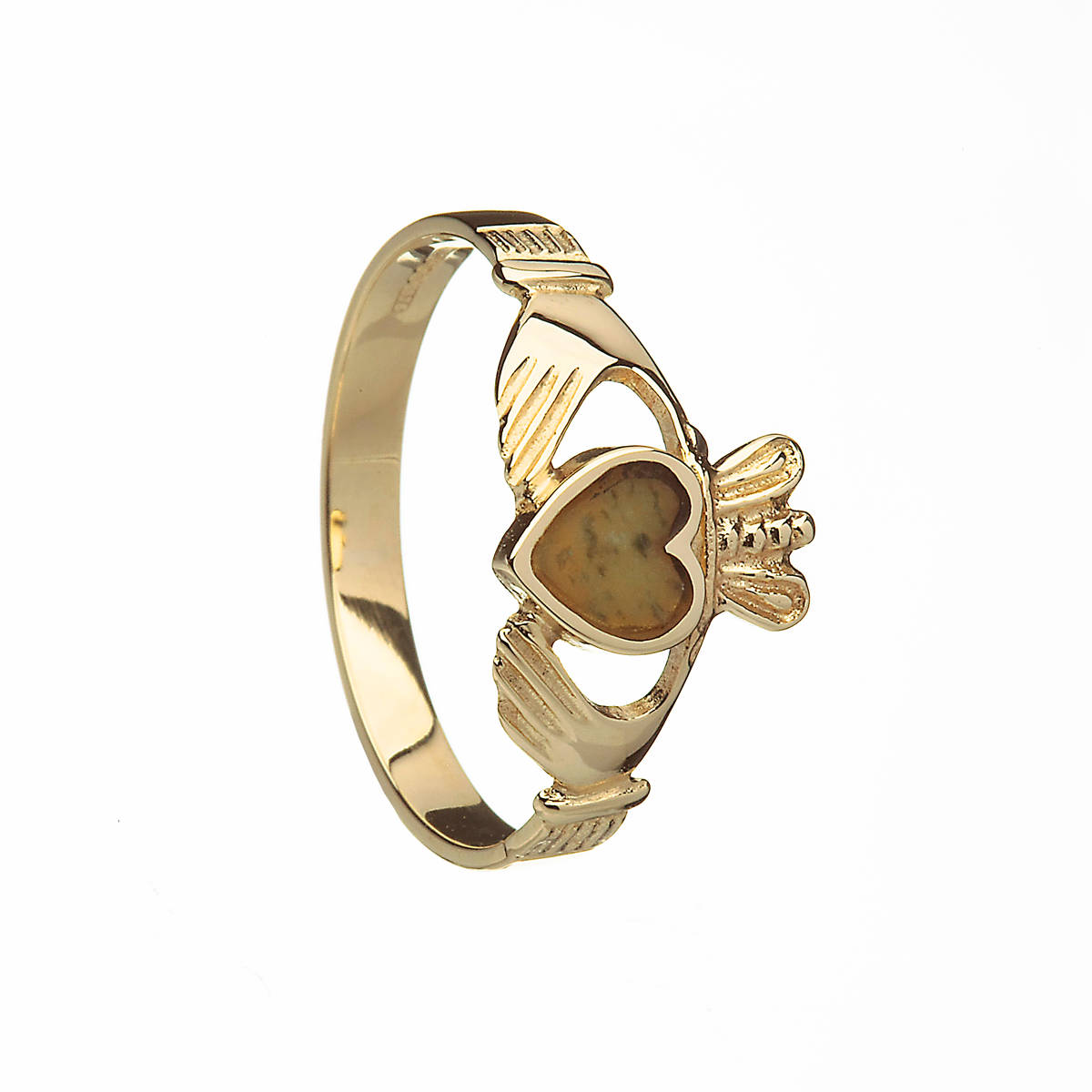 10 carat yellow gold ladies claddagh ring with Connemara Marble inset in the heart which is a unique marble only found in Connemara in the west of Ireland.