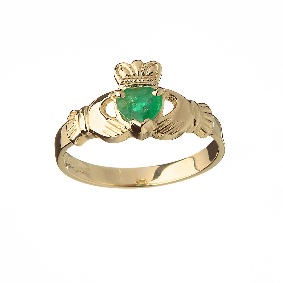 10 carat Yellow Gold Real Emerald Claddagh Ring