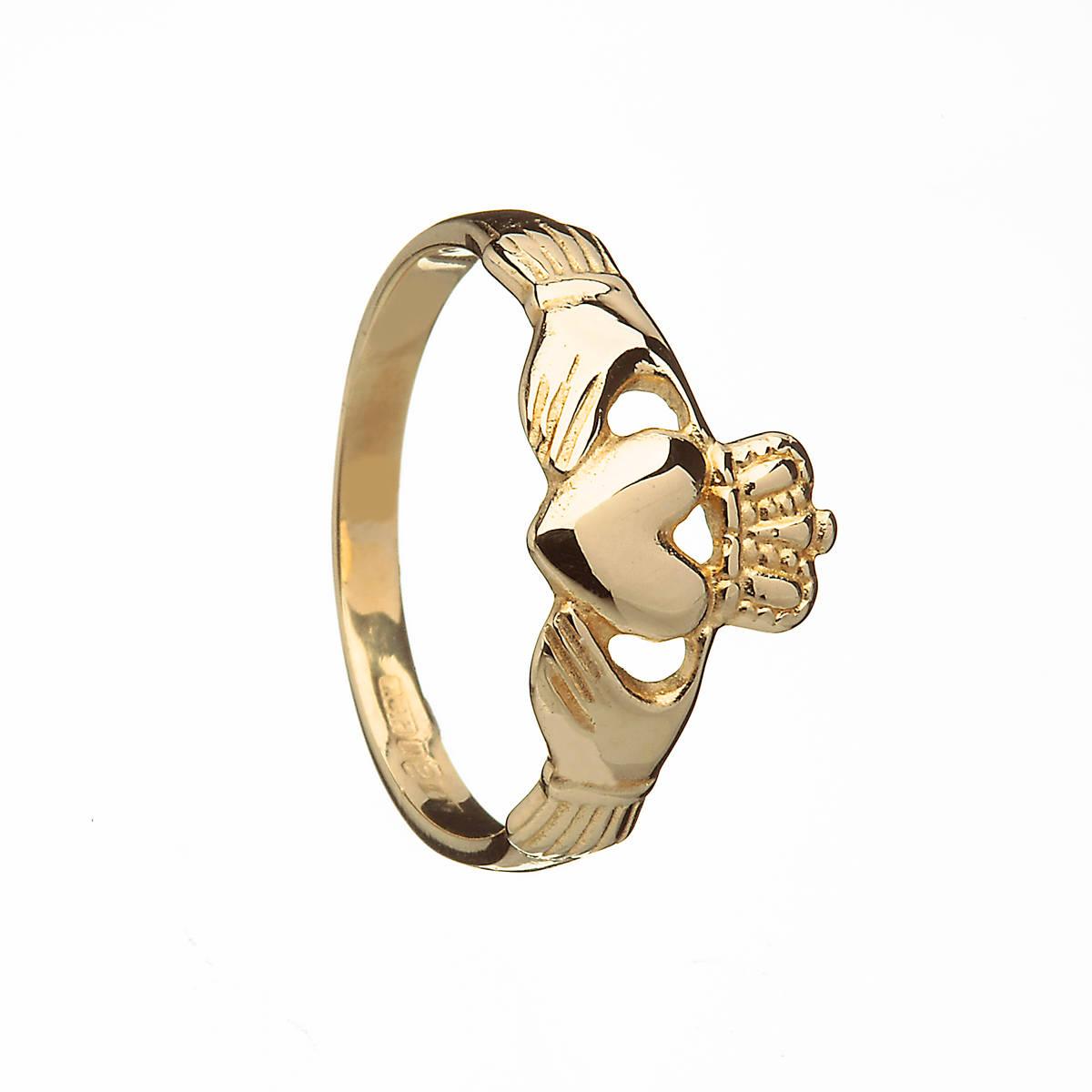 10 carat yellow goldunisex Claddagh ring