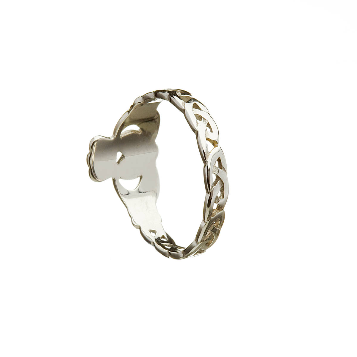 beautiful 10 carat white gold claddagh ring with love knot shank.