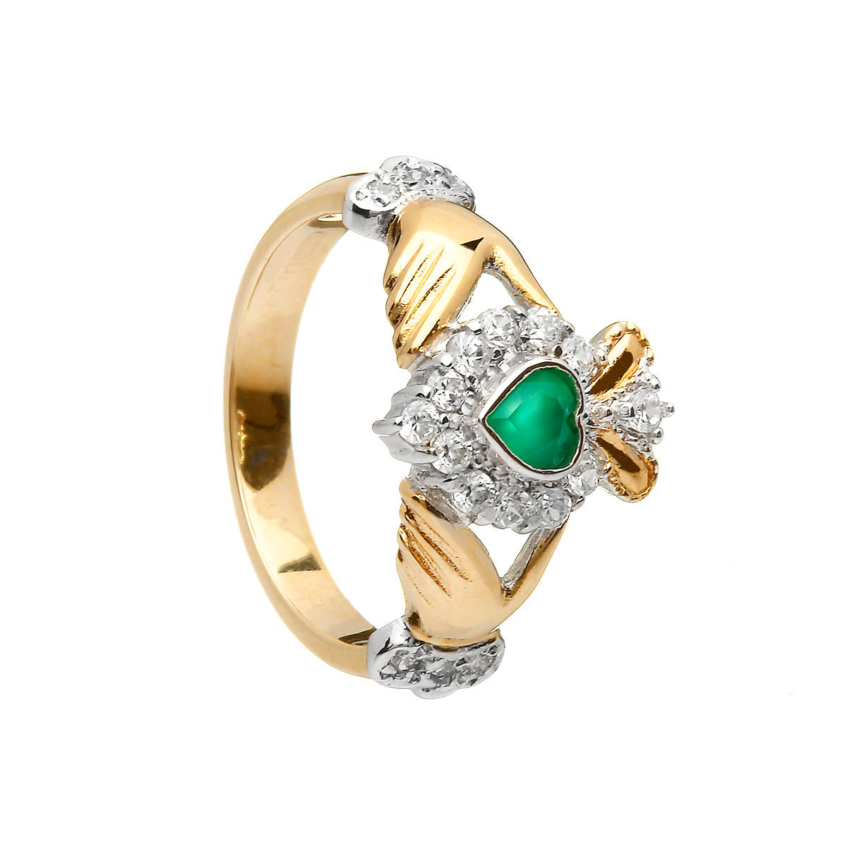 10 carat Yellow Gold Green Agate Claddagh Ring With Cubic Zirconia Stones