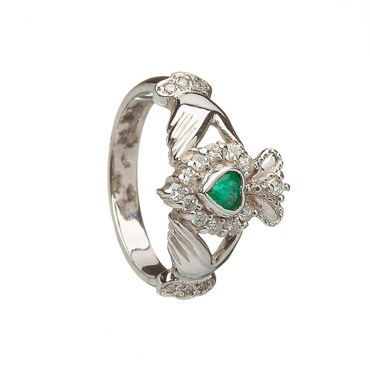 10ct W/gold Diamond & Emerald Claddagh Ring 13mm Irish made diamond and emerald claddagh engagement ring in 10ct white gold
