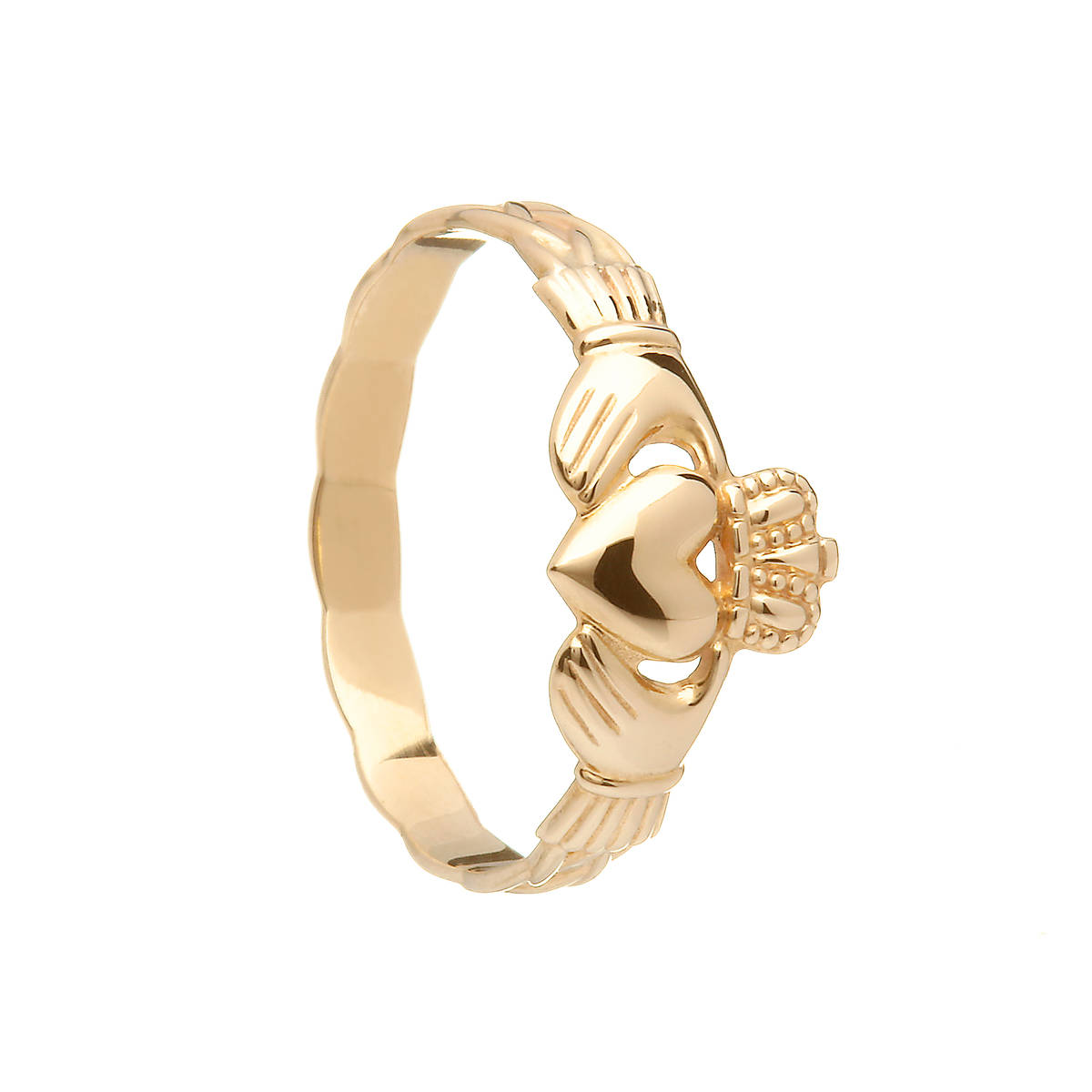 10ct Yellow Gold Maids Traditional Claddagh Ring With Braided Band 9mm