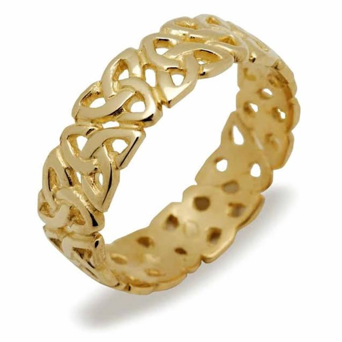 10 carat yellow gold gents Celtic open trinity knot wedding band.Also available in white gold if required.