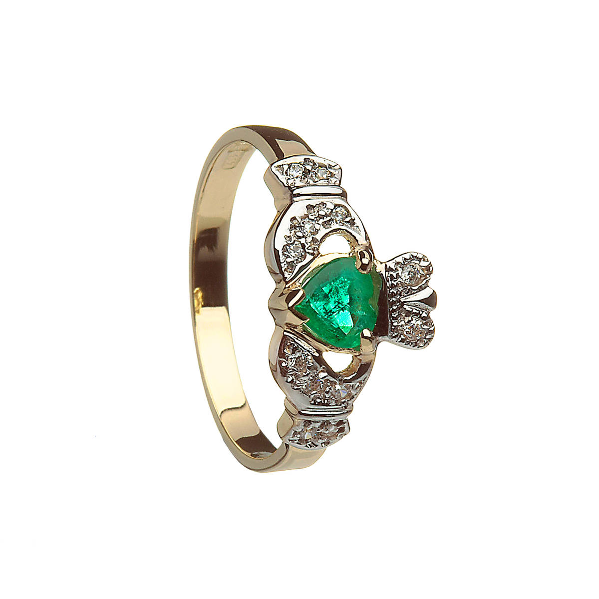 10 carat Yellow Gold Claddagh Ring With Real Emerald And Cubic Zirconia Stones