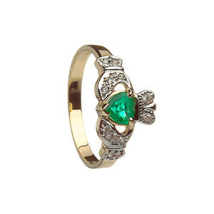 10 carat Claddagh Ring with Emerald And Diamonds