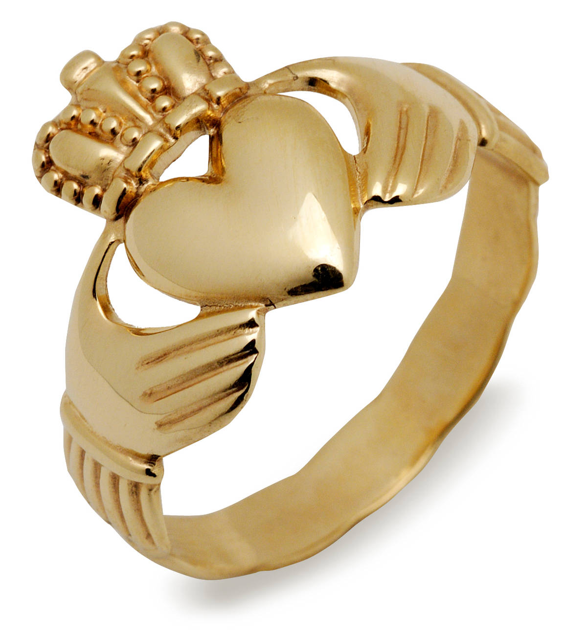 Heavy 10 carat yellow gold Claddagh ring with braided shank.