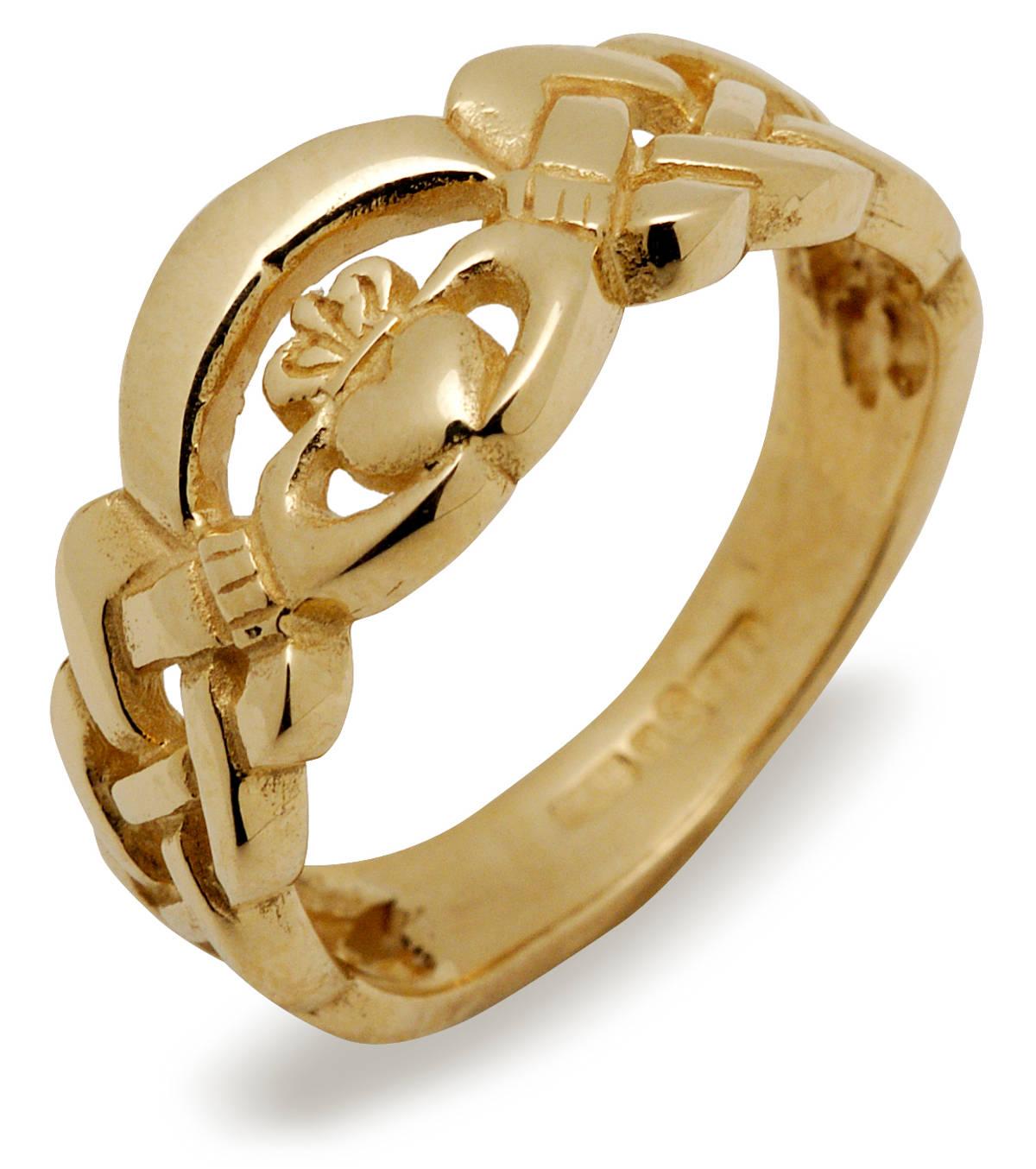 10 carat yellow gold claddagh nua ring