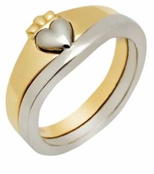 Gold 2 Part Claddagh Ring