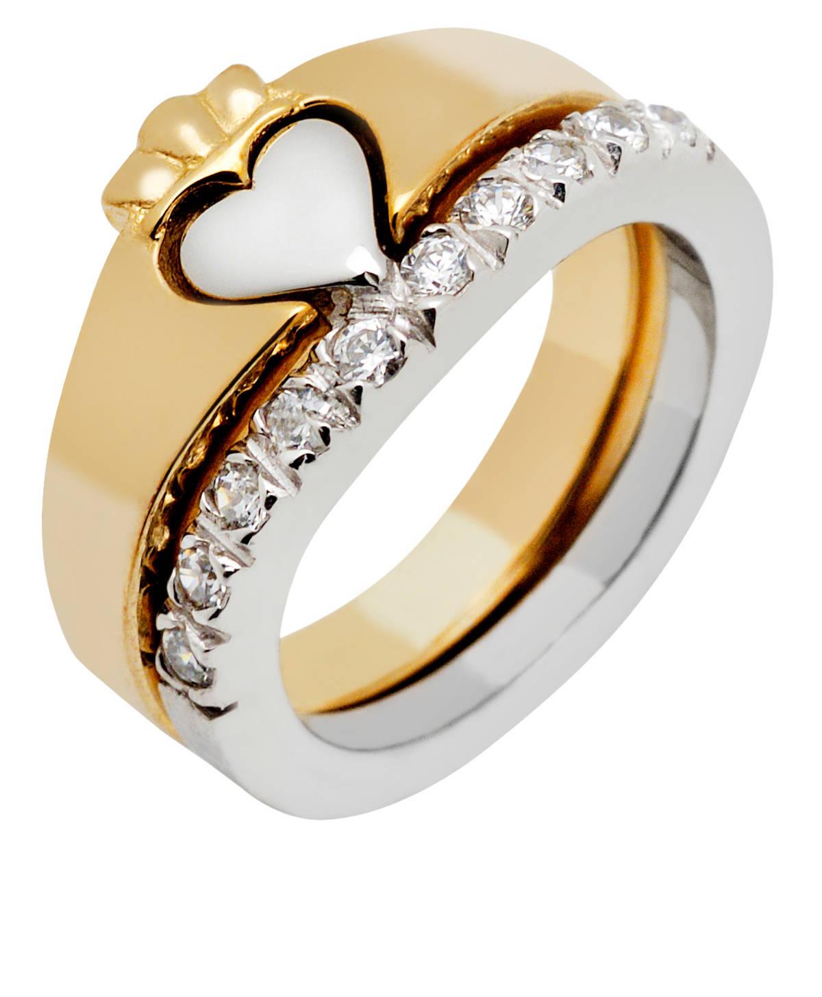 10 carat gold 2-part CZ Claddagh ring set