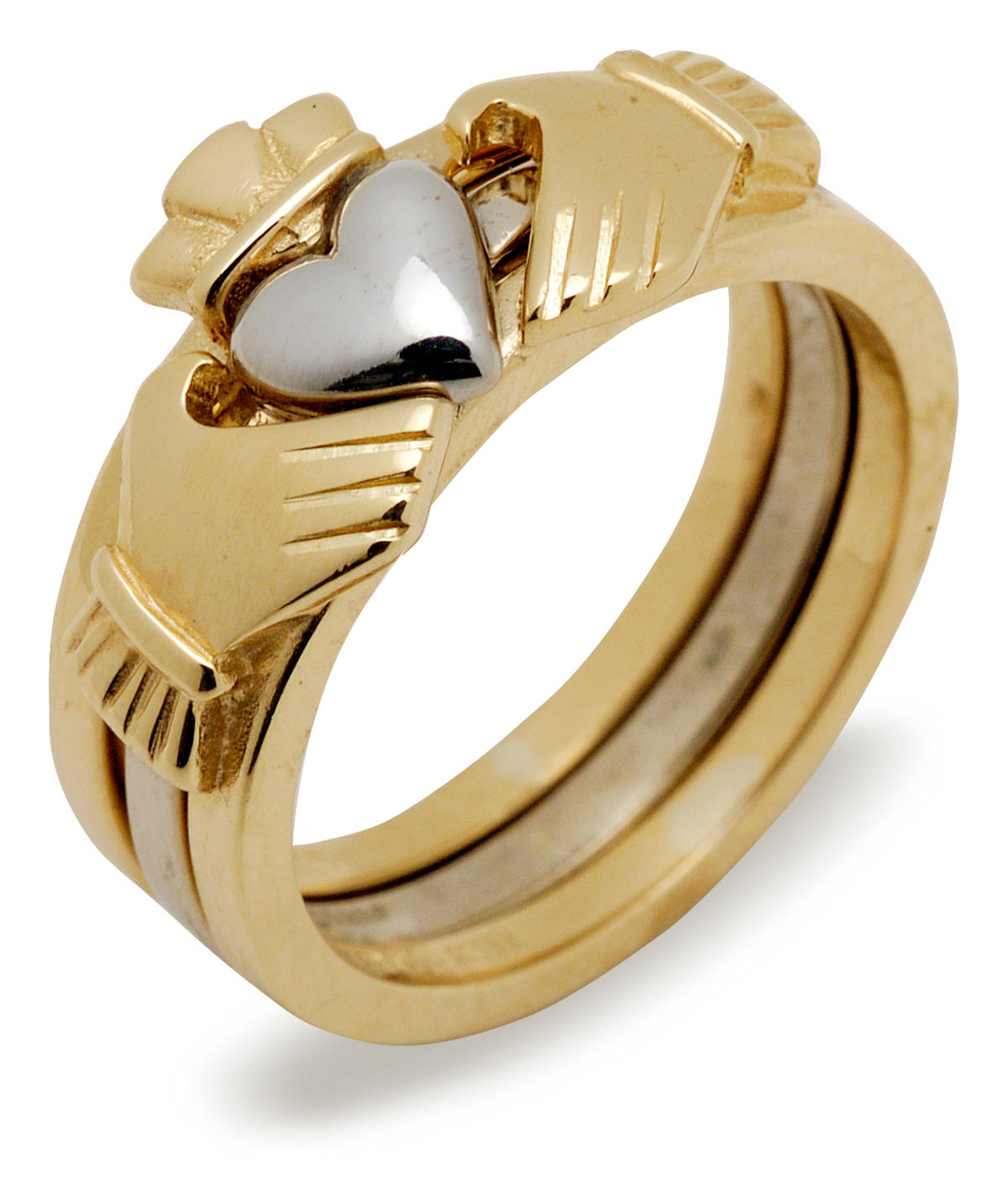 10 ct gold 2/3-part Claddagh rings set