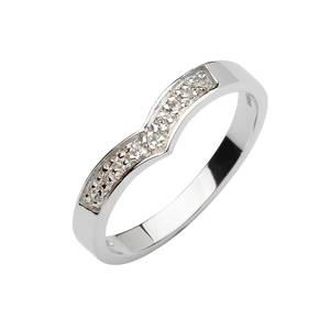 White Gold Cz Wishbone Ring