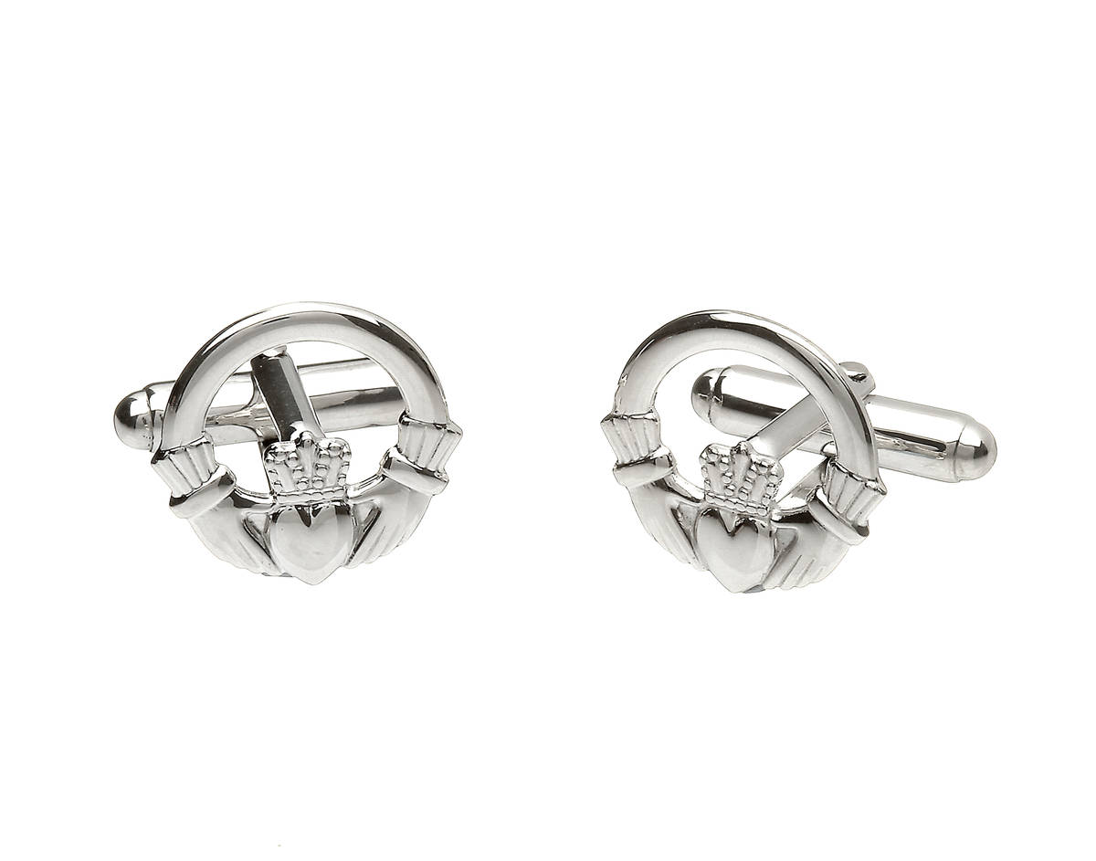 Beautiful silver classic claddagh cufflinks stamped in the Dublin Assay Office in Dublin Castle.