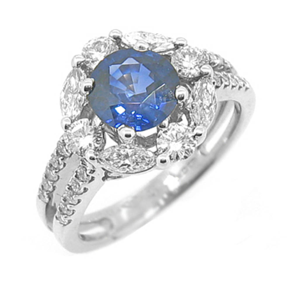 Sapphire and diamond cluster ring in 18 carat white gold