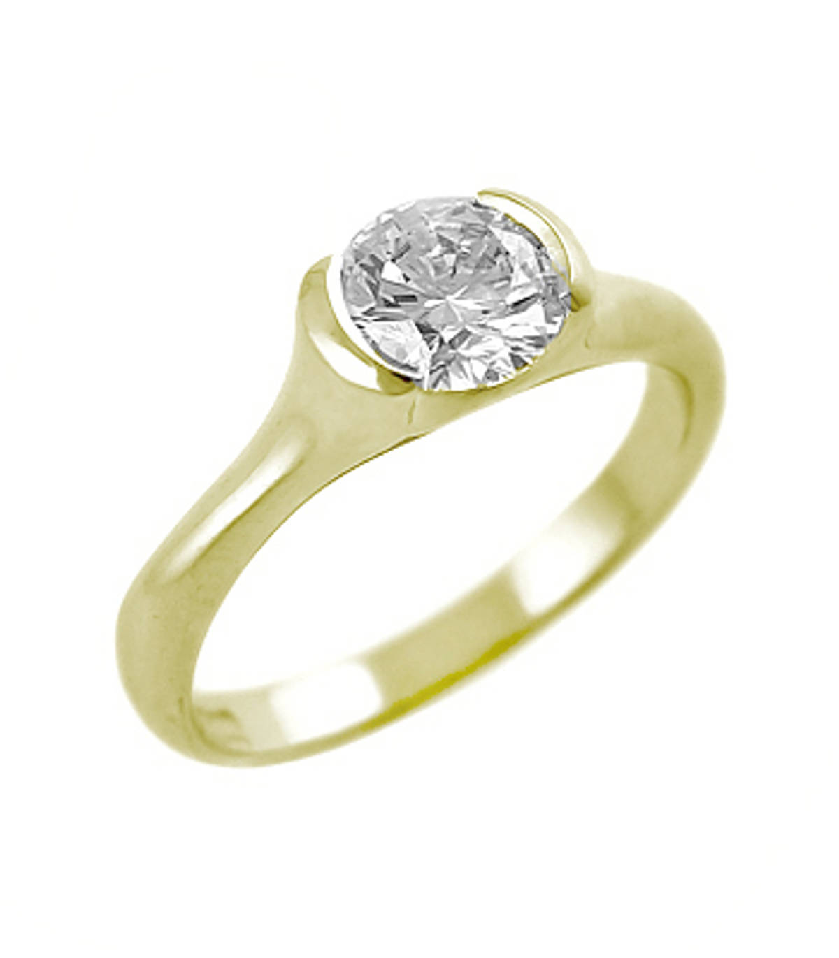 Oval diamond solitaire ring in 18 ct yellow gold