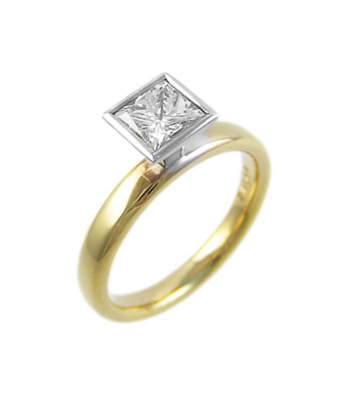 Princess cut diamond rubover set solitaire ring in 18 ct red and white gold