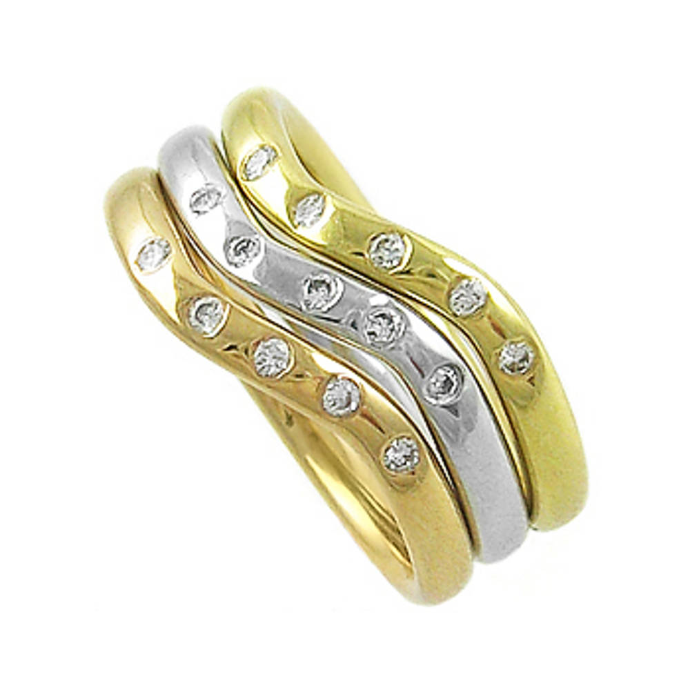15 stone diamond 3 band ring in 18 ct red/yellow/white gold