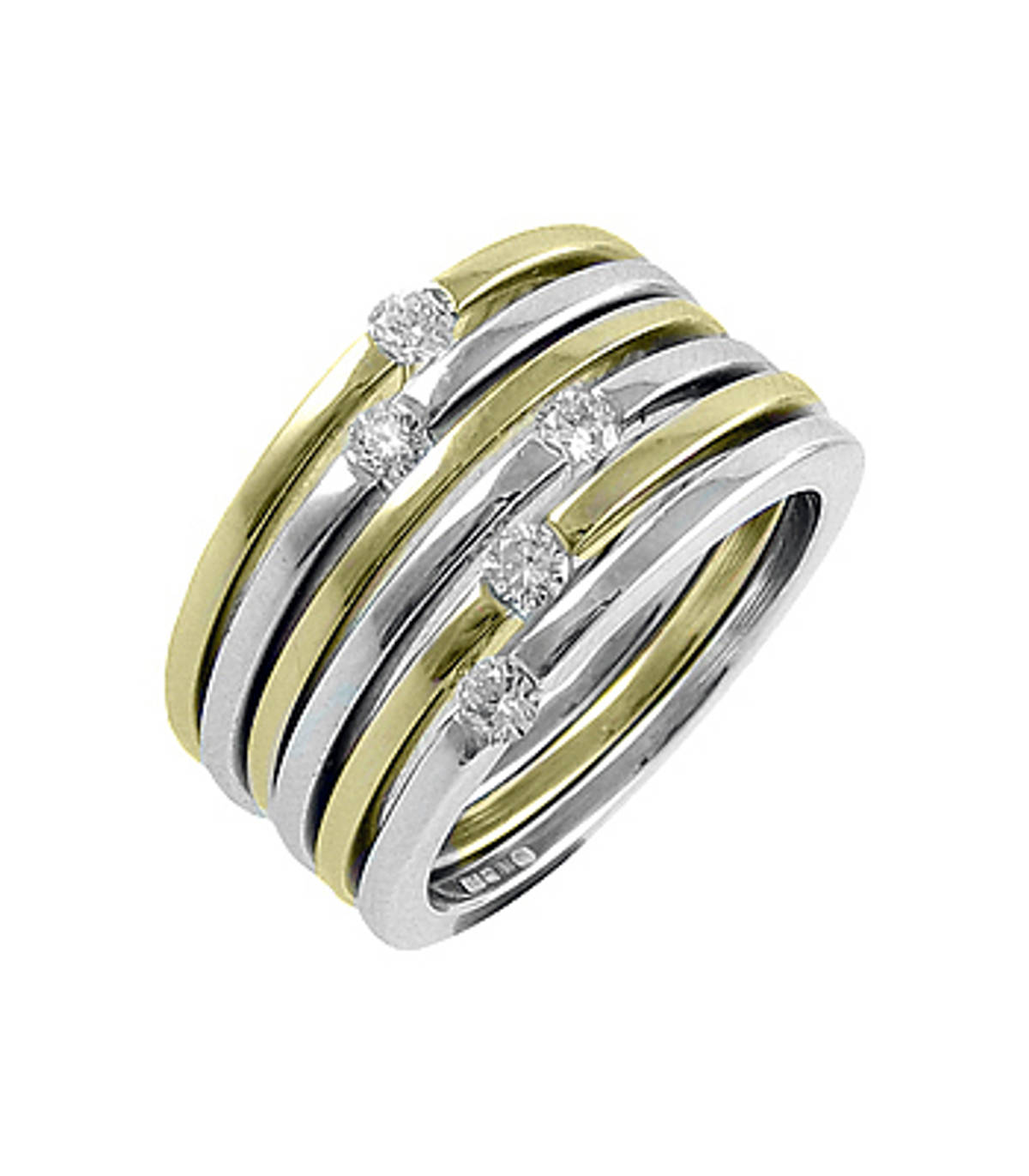 5 stone diamond fancy ring in 18 ct yellow/white gold