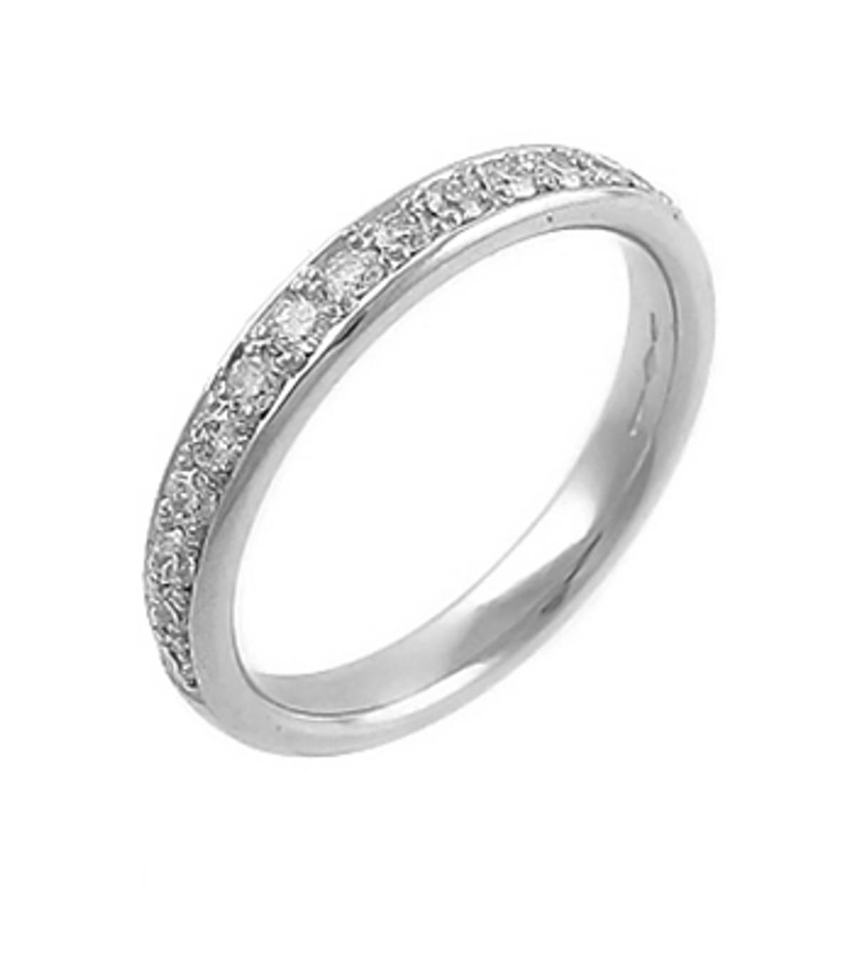 18k white gold brilliant cut diamond milgrain set wedding ring Carat: total diamond weight 0.45cts Metal: 18k white gold