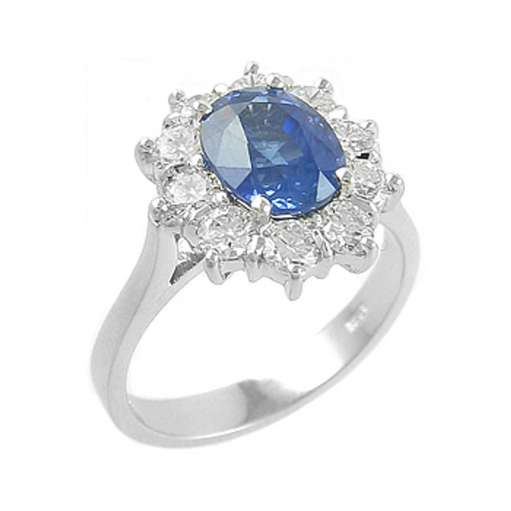 Sapphire and diamond cluster ring in 18 ct white gold 72165image