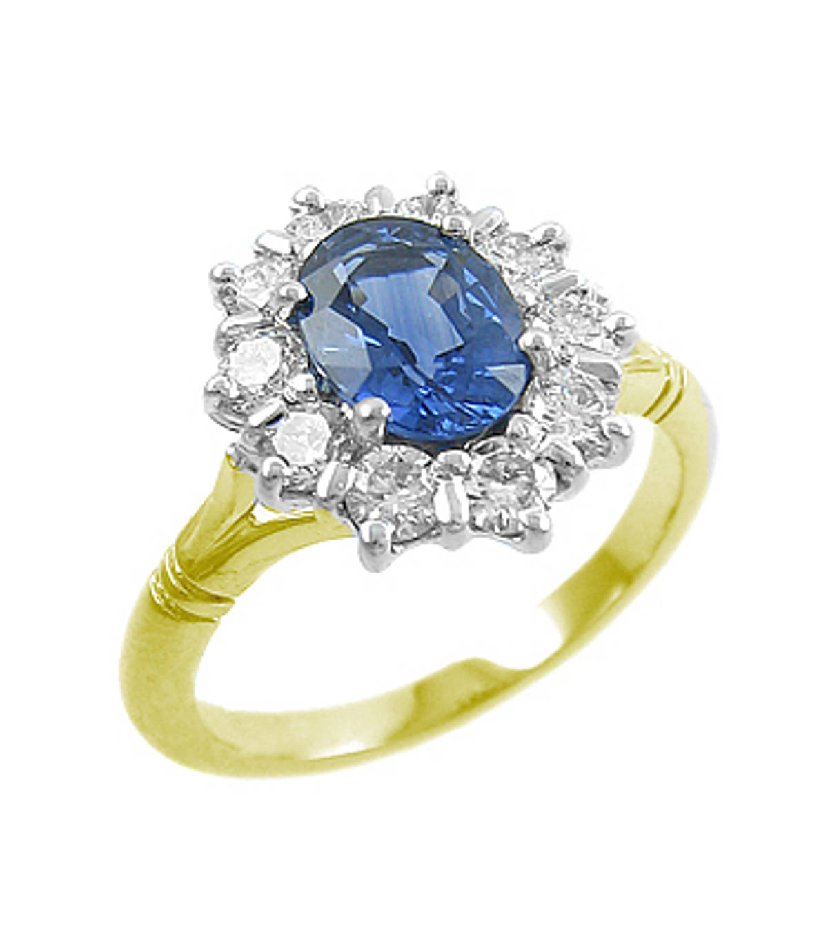 Sapphire and diamond cluster ring in 18 ct yellow gold